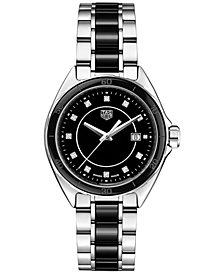 Tag Heuer Women's Swiss Formula 1 Diamond (1/20th ct. t.w.) Stainless Steel & Black Ceramic Bracelet Watch 32mm
