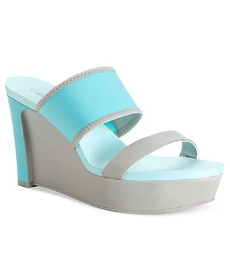 Calvin Klein Woman's Shoes, Daina Platform Wedge Sandals