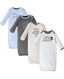 Luvable Friends Baby Boy Cotton Gowns, 4 Pack