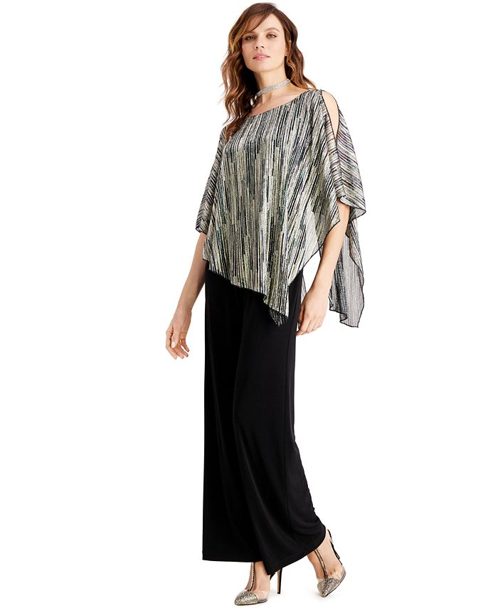 Connected - Metallic Cape Overlay Jumpsuit
