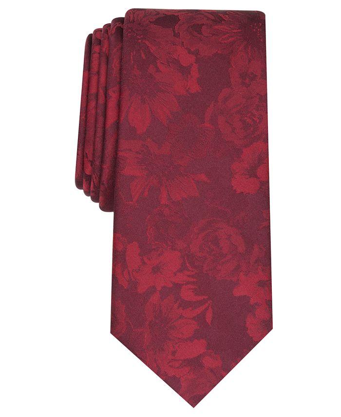 Bar III - Men's Glacier Skinny Floral Tie