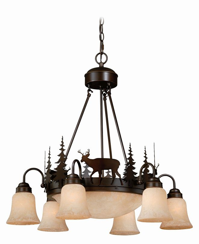 Vaxcel Bryce 9 Light Rustic Deer Amber Glass Chandelier