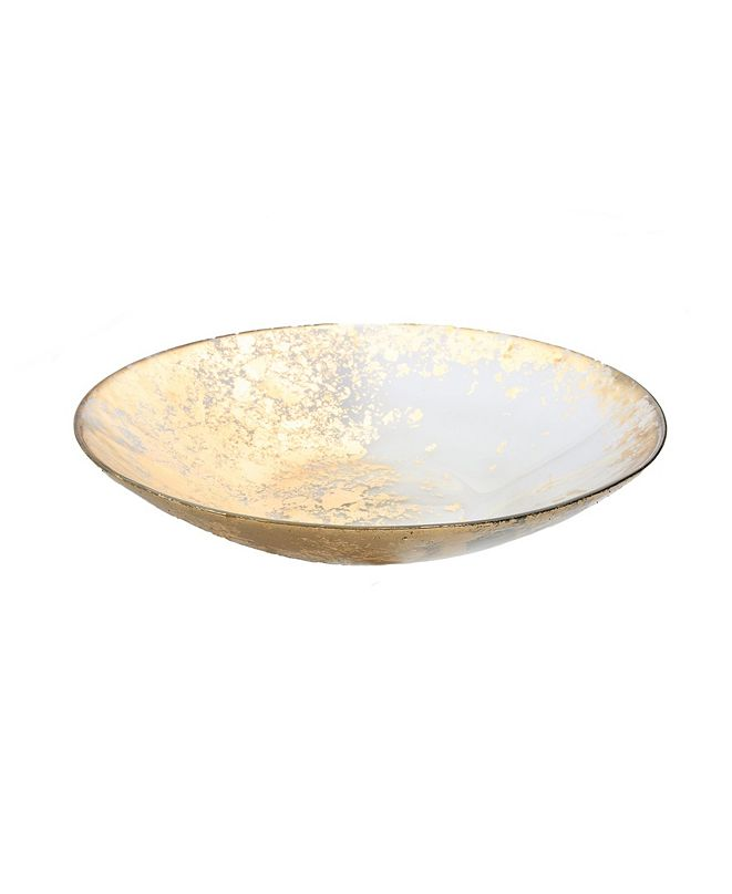 Classic Touch Smoked Glass Bowl with Scattered Gold Tone Design