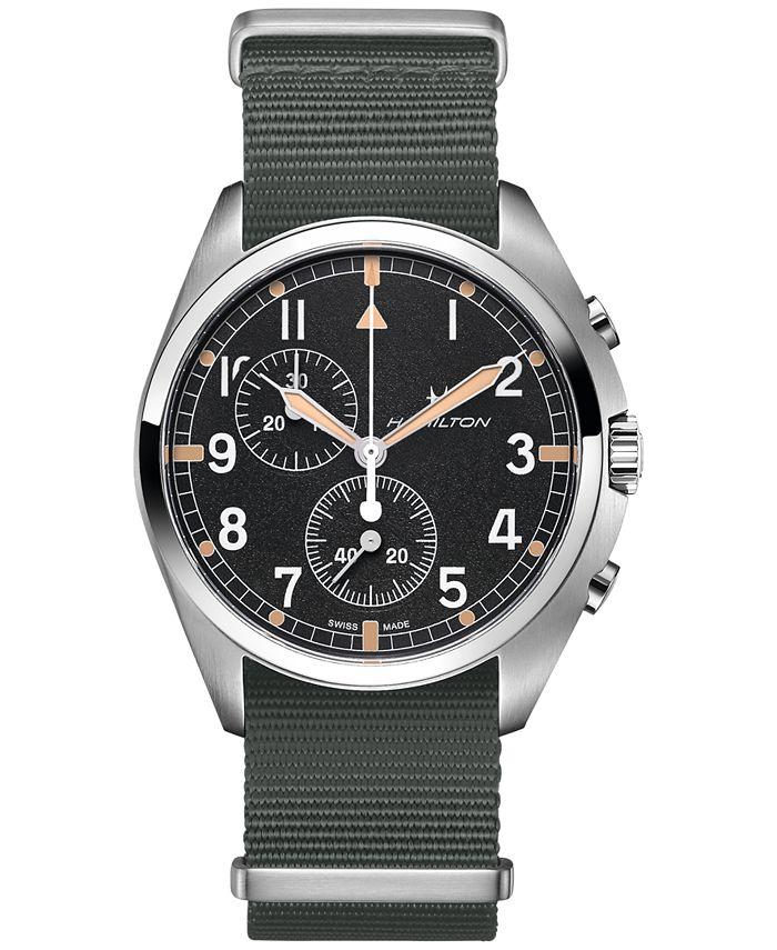 Hamilton - Men's Swiss Chronograph Khaki Pilot Pioneer Gray Nato Strap Watch 41mm