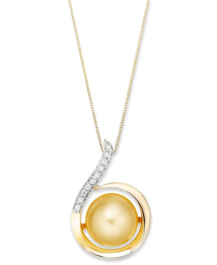 Macy's - 14k Gold Necklace, Golden South Sea Pearl (11mm) and Diamond (1/10 ct. t.w.) Swirl Pendant