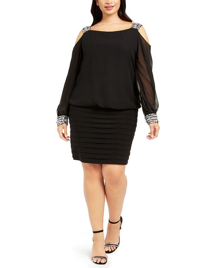 Betsy & Adam - Plus Size Cold-Shoulder Embellished Blouson Dress