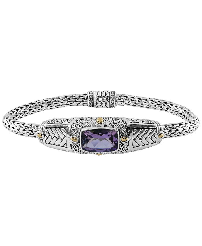 DEVATA - Amethyst (3-9/10 ct. t.w.) Bali Heritage Classic Cuff Bracelet in Sterling Silver and 18k Yellow Gold Accents