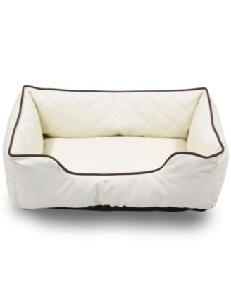 "Luxury All Sides Faux Leather Rectangle Pet Bed, 31""x23"""