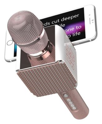Pop Solo Bling – Rechargeable Bluetooth Karaoke Microphone and Voice Mixer with Smartphone Holder