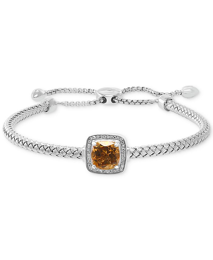 EFFY Collection - Citrine (2 ct. t.w.) & Diamond (1/10 ct. t.w.) Bolo Bracelet in Sterling Silver