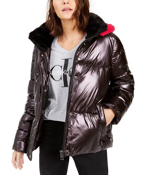 Calvin Klein Jeans Hooded Faux-Fur-Collar Metallic Puffer Jacket