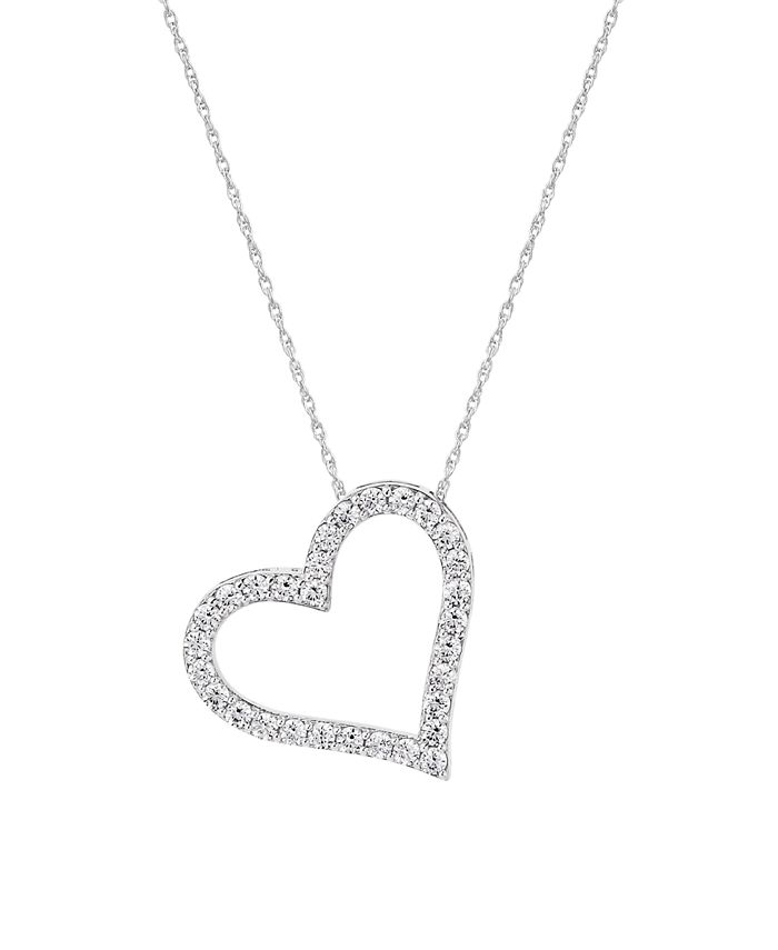 Macy's - WEAR IT BOTH WAYS Diamond (½ ct. t.w.) Heart Pendant Necklace in 14k White, Yellow or Rose Gold