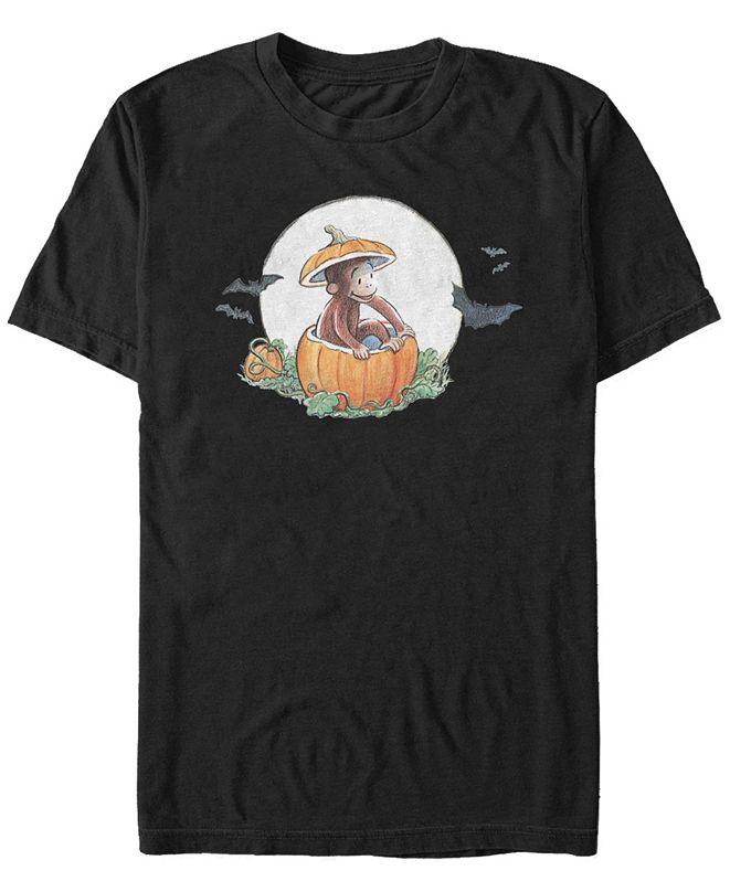 Fifth Sun Curious George Men's Spooky Halloween Pumpkin Short Sleeve T-Shirt
