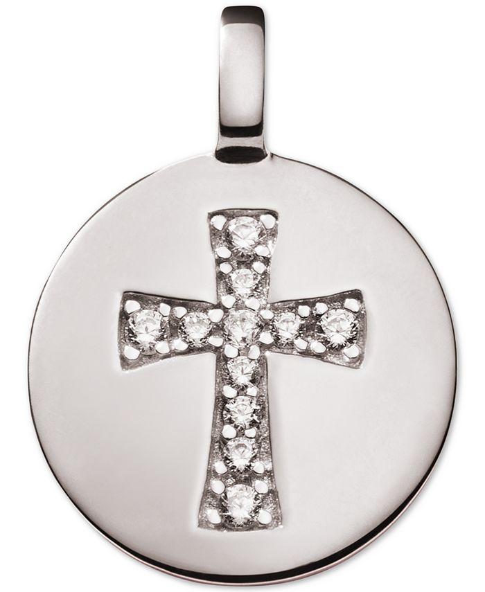 CHARMBAR - Swarovski Zirconia Cross Reversible Charm Pendant in Sterling Silver