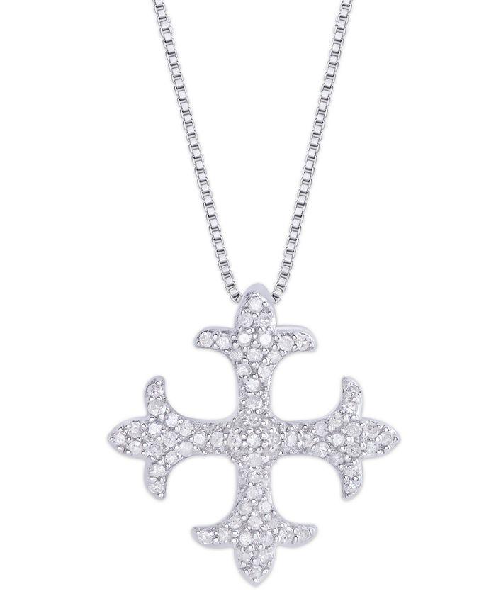 Macy's - Diamond 1/3 ct. t.w. Maltese Cross Pendant Necklace in Sterling Silver