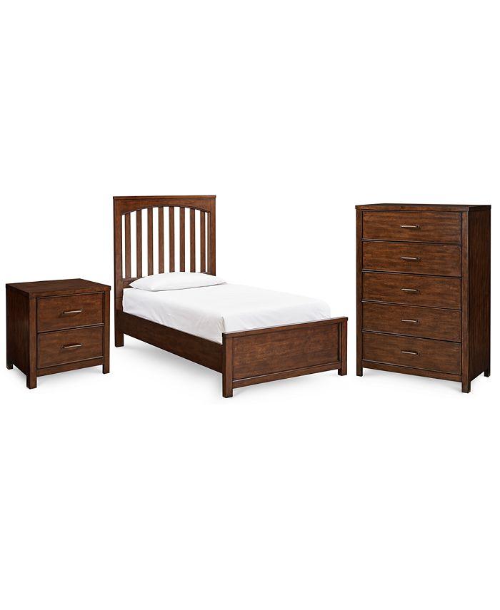 Furniture - Ashford Cinnamon Bedroom , 3-Pc. Set (Twin Bed, Nightstand & Chest)