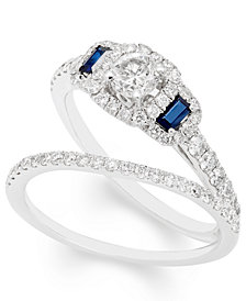 Certified Diamond (1 ct. t.w.) and Sapphire Bridal Set in 14k White Gold