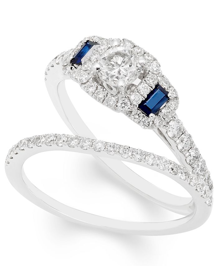 Macy's - Certified Diamond (1 ct. t.w.) and Sapphire Bridal Set in 14k White Gold