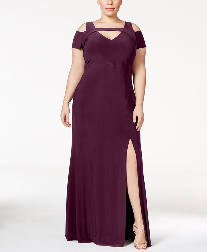 Nightway - Plus Size Cold-Shoulder Keyhole Gown