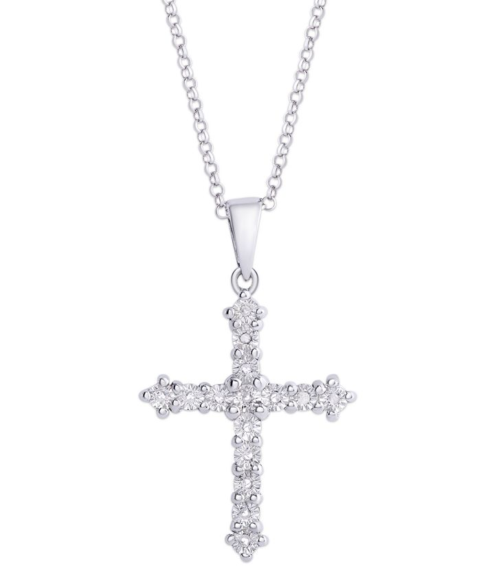 Macy's - Diamond (1/10 ct. t.w.) Cross Miracle Plate Pendant Necklace in Sterling Silver