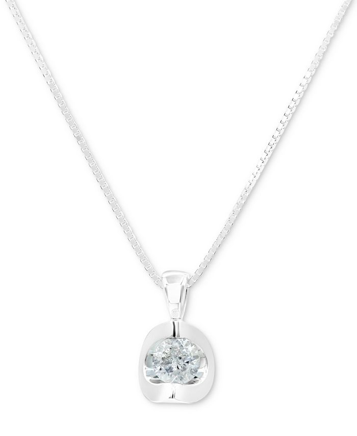 """Macy's - Diamond 18"""" Pendant Necklace (1/5 ct. t.w.) in 14k White Gold or 14k Gold"""