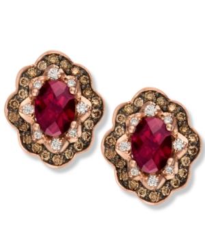 Le Vian 14k Rose Gold Earrings, Rhodolite (1-3/4 ct. t.w.) and Diamond and Chocolate Diamond (5/8 ct. t.w.) Earrings