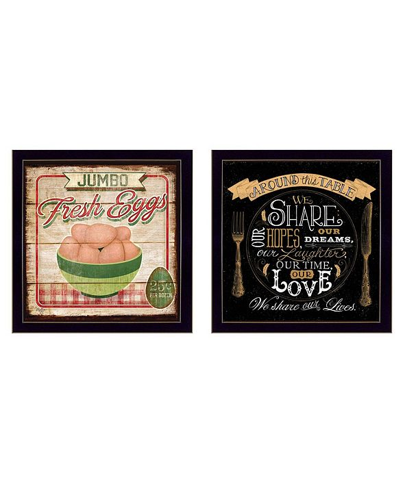 "Trendy Decor 4U Around the Table Collection By Mollie B. and D. Strain, Printed Wall Art, Ready to hang, Black Frame, 28"" x 14"""
