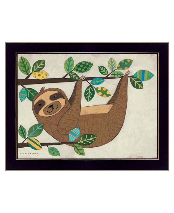 "Trendy Decor 4U Hanging Sloth I by Bernadette Deming, Ready to hang Framed Print, Black Frame, 18"" x 14"""