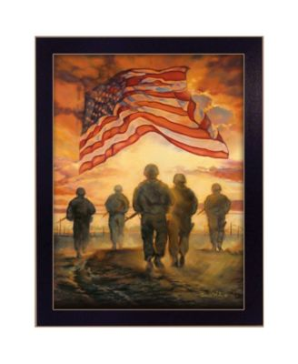 Bless Americas' Heroes By Bonnie Mohr, Printed Wall Art, Ready to hang, Black Frame, 20