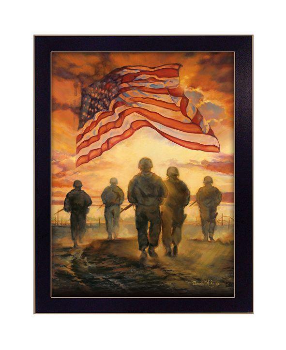 "Trendy Decor 4U Bless Americas' Heroes By Bonnie Mohr, Printed Wall Art, Ready to hang, Black Frame, 20"" x 26"""