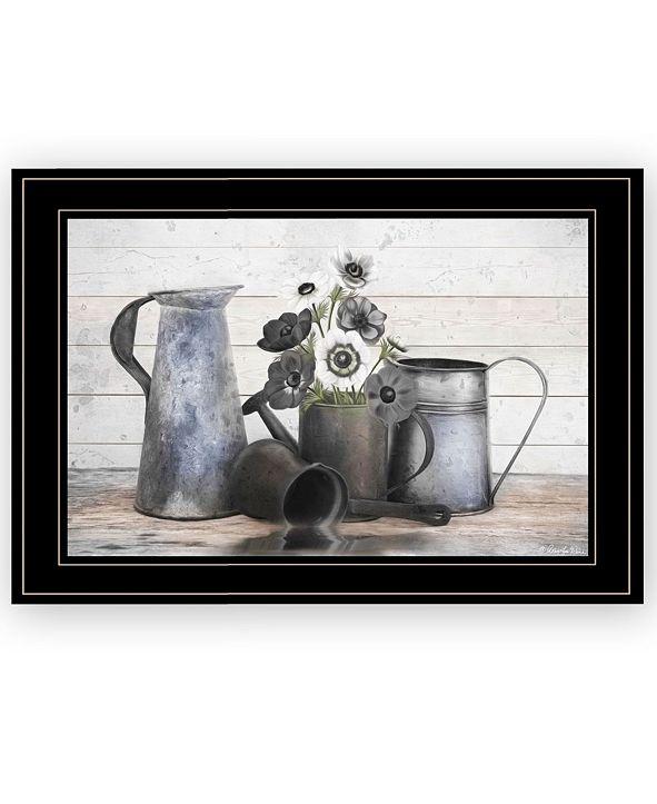 "Trendy Decor 4U Floral Farmhouse I by Robin-Lee Vieira, Ready to hang Framed Print, Black Frame, 21"" x 15"""