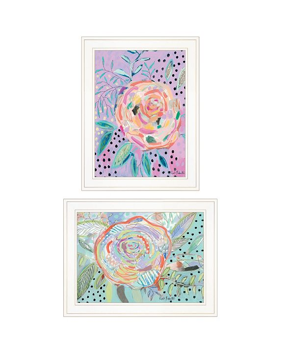 """Trendy Decor 4U Bloom for Yourself 2-Piece Vignette by Kait Roberts, White Frame, 15"""" x 19"""""""