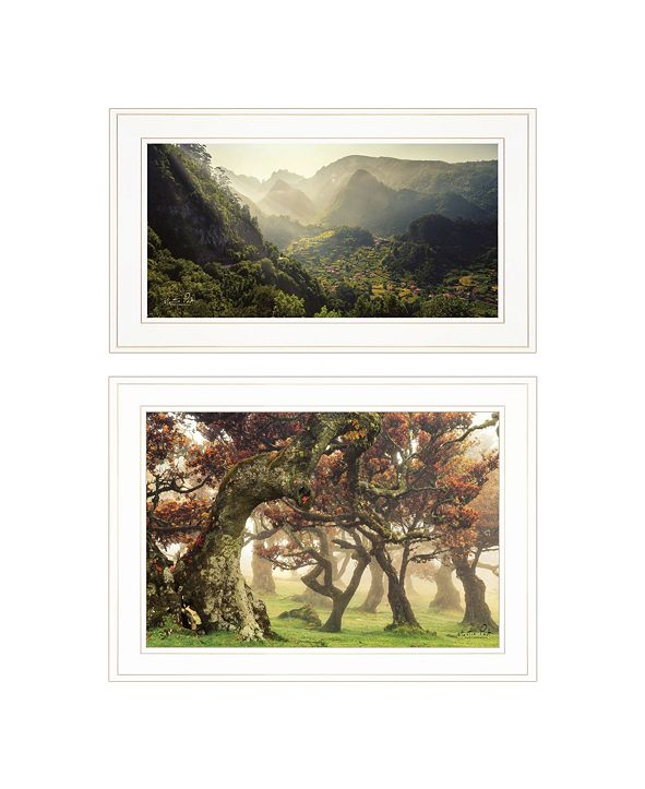 "Trendy Decor 4U The Land of Hobbits 2-Piece Vignette by Martin Podt, White Frame, 21"" x 15"""