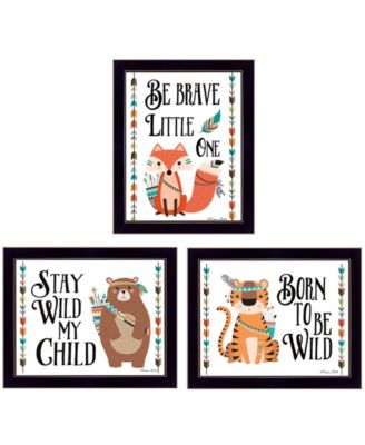 Be Brave Little One Collection By Susan Boyer, Printed Wall Art, Ready to hang, Black Frame, 18