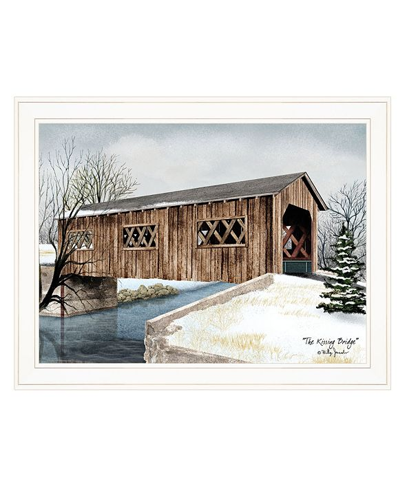 """Trendy Decor 4U The Kissing Bridge by Billy Jacobs, Ready to hang Framed Print, White Frame, 27"""" x 21"""""""
