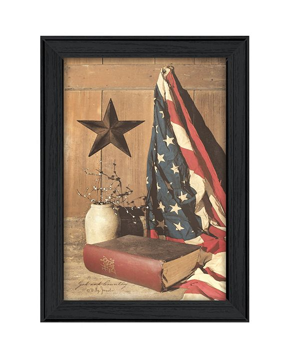 "Trendy Decor 4U God and Country By Billy Jacobs, Printed Wall Art, Ready to hang, Black Frame, 15"" x 21"""