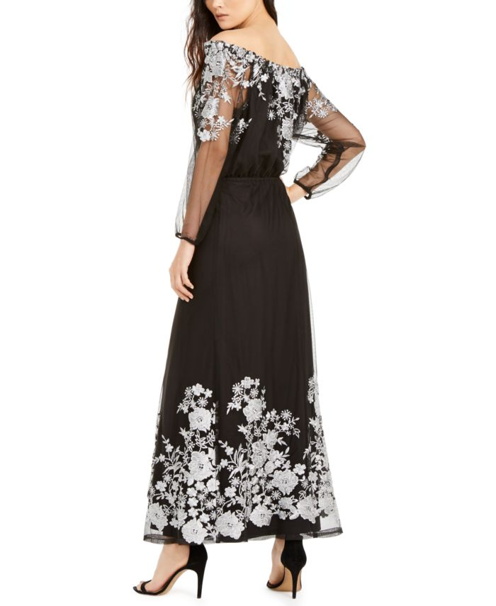 INC International Concepts INC Embroidered Off-The-Shoulder Maxi Dress, Created for Macy's & Reviews - Dresses - Women - Macy's