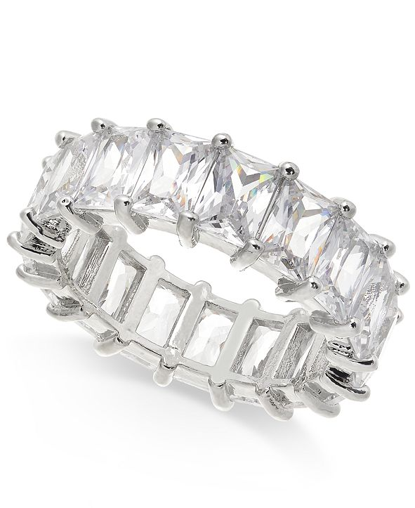 INC International Concepts INC Silver-Tone Crystal Baguette Statement Ring, Created for Macy's