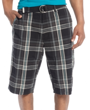 Sean John Big  Tall Shorts Plaid Belted Shorts