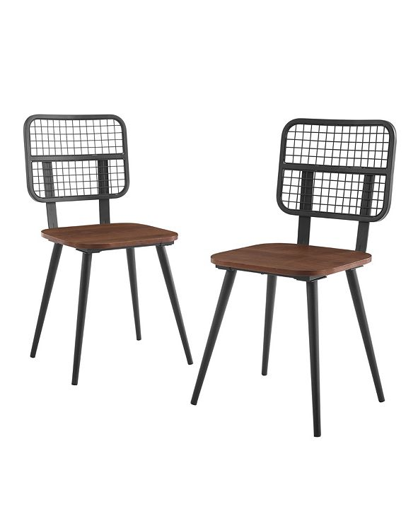 Walker Edison Industrial Mesh Back Dining Chair, Set Of 2