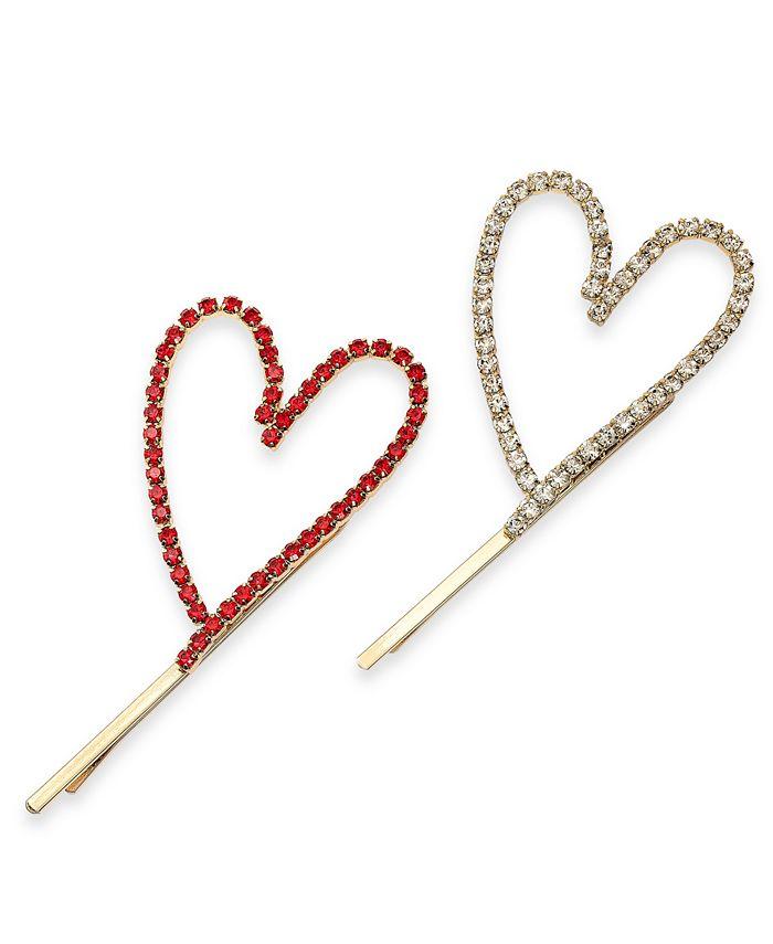 INC International Concepts - 2-Pc. Gold-Tone Pavé Open Heart Bobby Pin Set