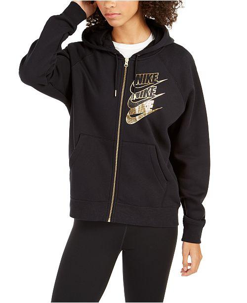 Nike Women's Sportswear Shine Metallic Logo Zip Hoodie ...