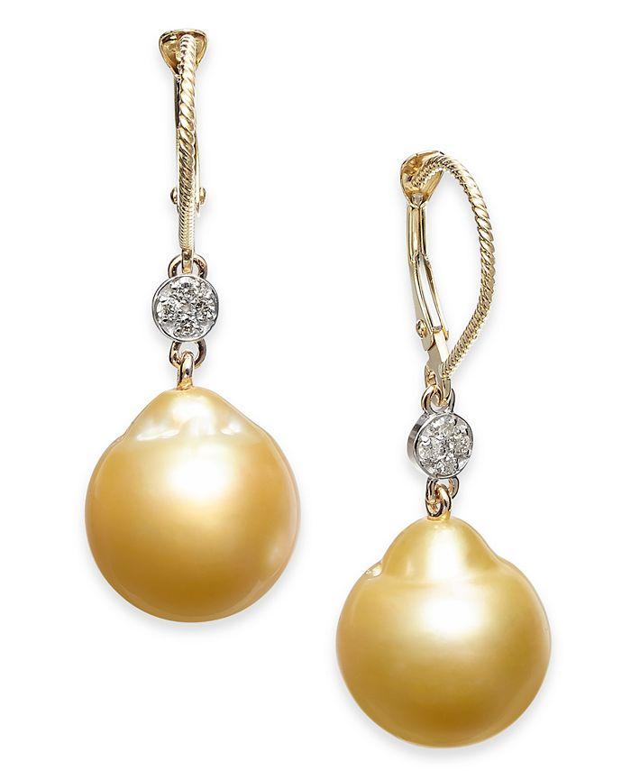 Macy's - Cultured Baroque Golden South Sea Pearl (12mm) & Diamond (1/10 ct. t.w.) Drop Earrings in 14k Gold
