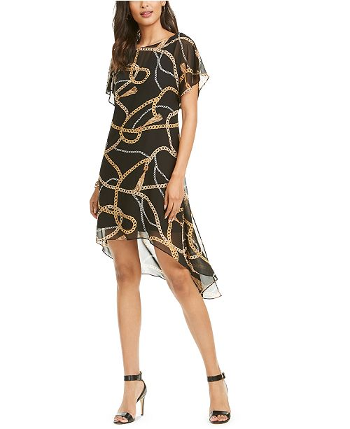 erosión Pescador Asco  Adrianna Papell Chain Print Chiffon Overlay Dress & Reviews - Dresses -  Women - Macy's