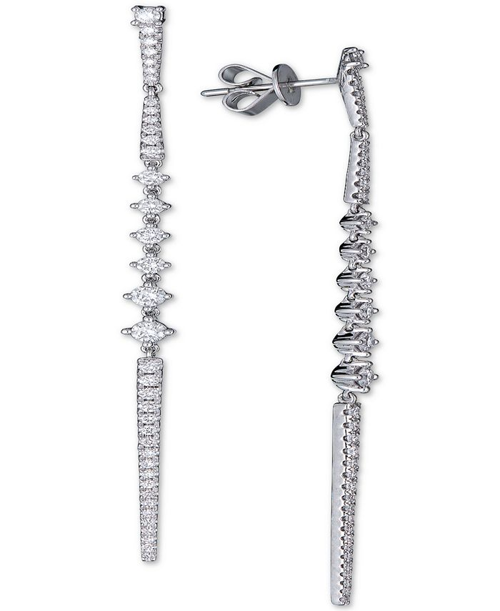 Macy's - Diamond Linear Dangle Drop Earrings (1 ct. t.w.) in 14k White Gold