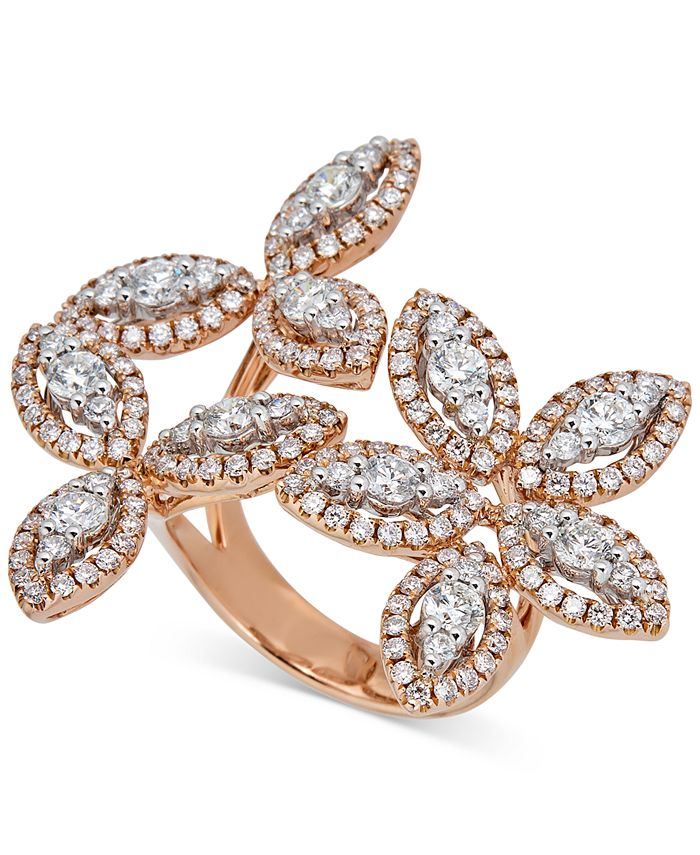 Macy's - Diamond Flower Statement Ring (2-3/4 ct. t.w.) in 14k Rose Gold