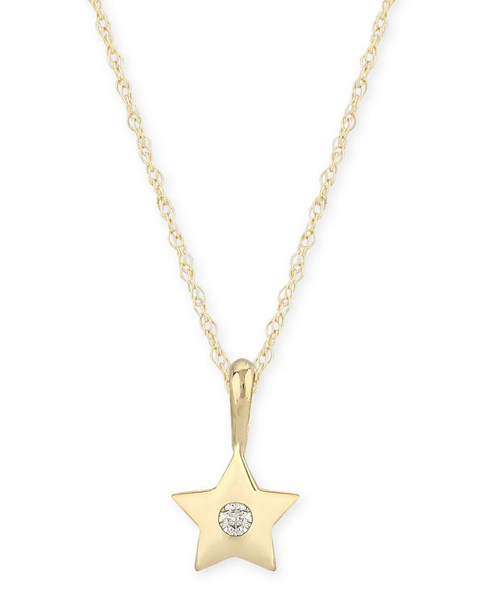 Macy's - Diamond Accent Solid Star Pendant in 14K Yellow Gold