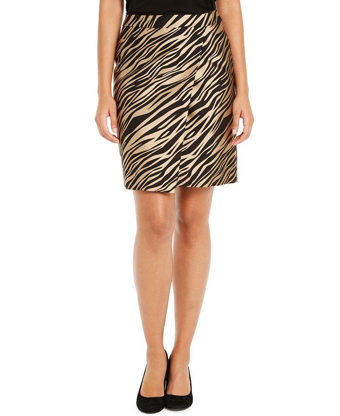 Anne Klein - Faux-Wrap Jacquard Skirt