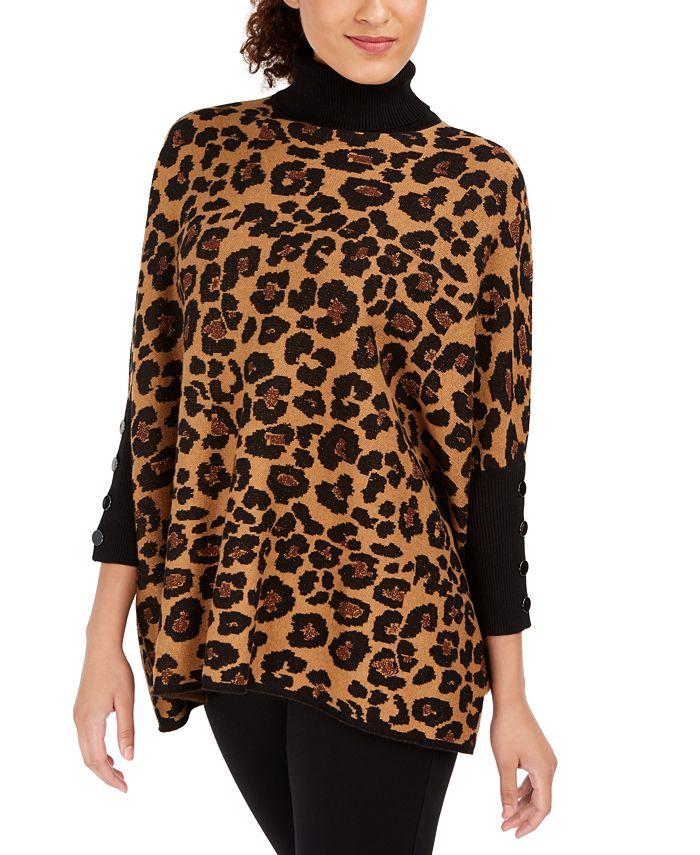 Anne Klein - Turtleneck Cheetah Print Pullover Sweater