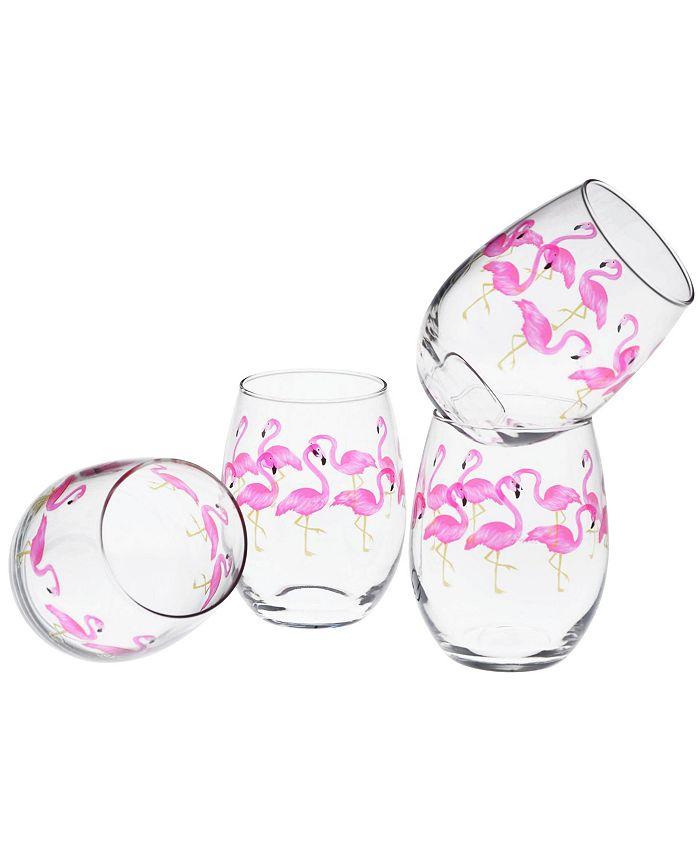Culver - Flamingos Stemless Wine Glass 15-Ounce Set of 4